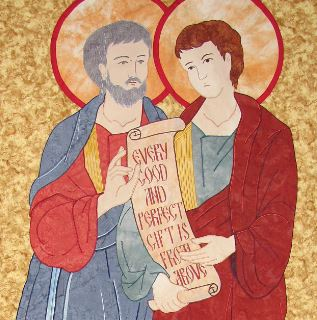 Quilted icon banner of St. Philip and St. James from the Community of Jesus